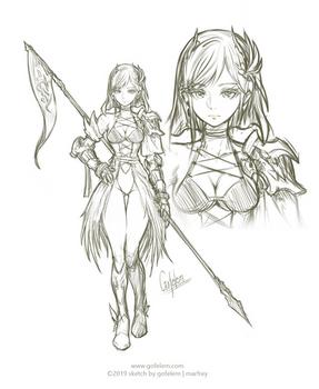 Sketch 001-2019 - Female Warrior