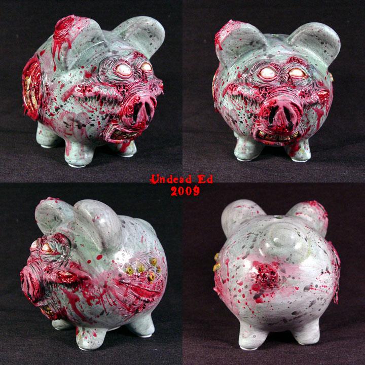 Zombie Piggy Bank OOak full by Undead-Art
