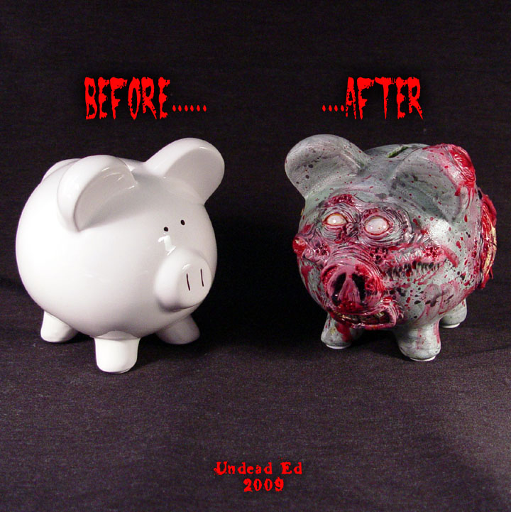 Zombie Piggy Bank OOakCompare by Undead-Art