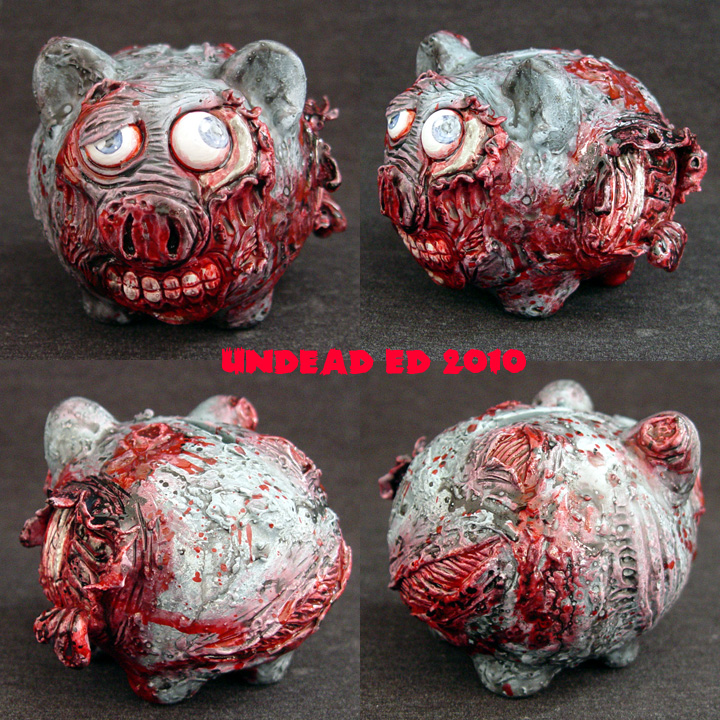 Zombie Piggy Bank small OOak by Undead-Art