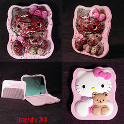 zombie Hello Kitty compact by Undead-Art