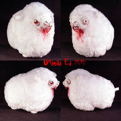 Crazed Lamb Sheep ooak Plush by Undead-Art