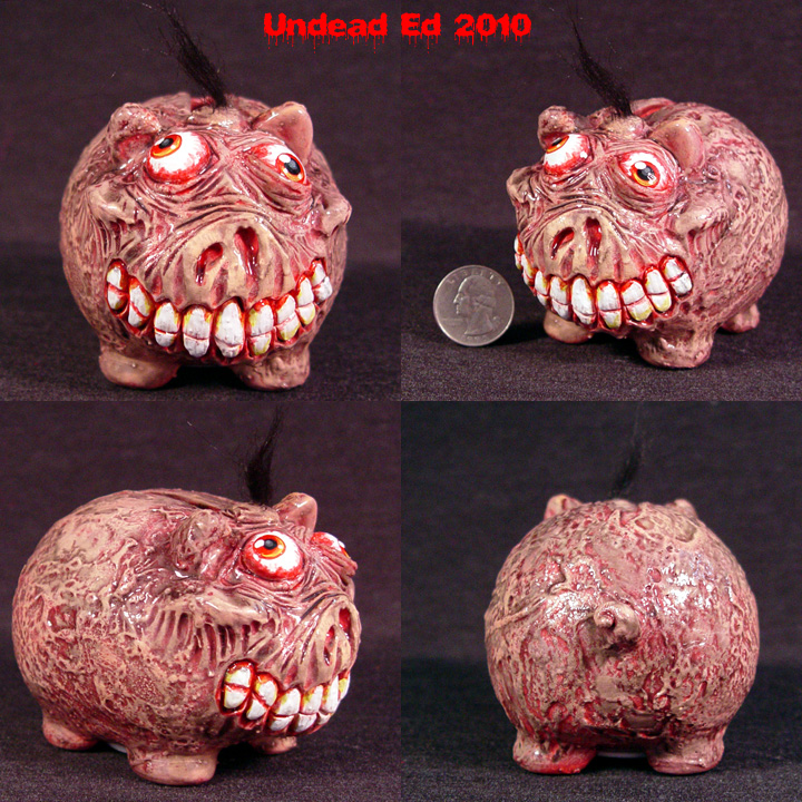 Plague Piggy Bank small OOak by Undead-Art
