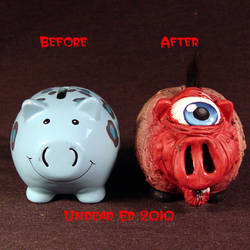 Rot Cyclops Piggy Bank compare by Undead-Art