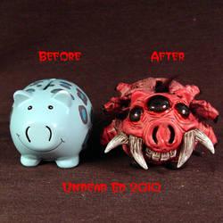 Rot Spider Pig Piggy Bank comp