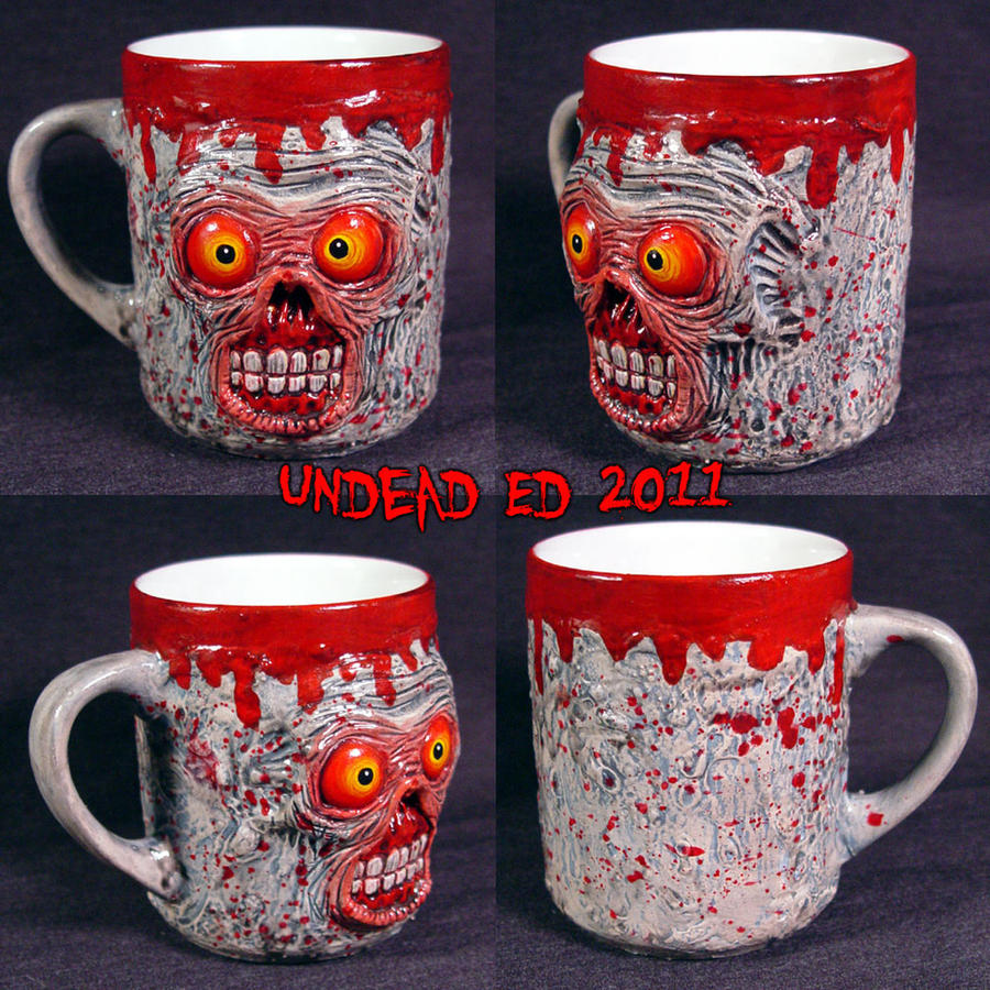 Zombie Red Eye Deluxe Mug ooak by Undead-Art
