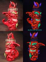 Demon Stash Jar by Undead Ed Glows in the Dark 2 by Undead-Art