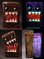 Domo 2.0 Zippo by Undead Ed Glows in the Dark 1 by Undead-Art