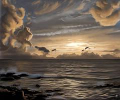 Golden Ocean Sunset by rob-powell