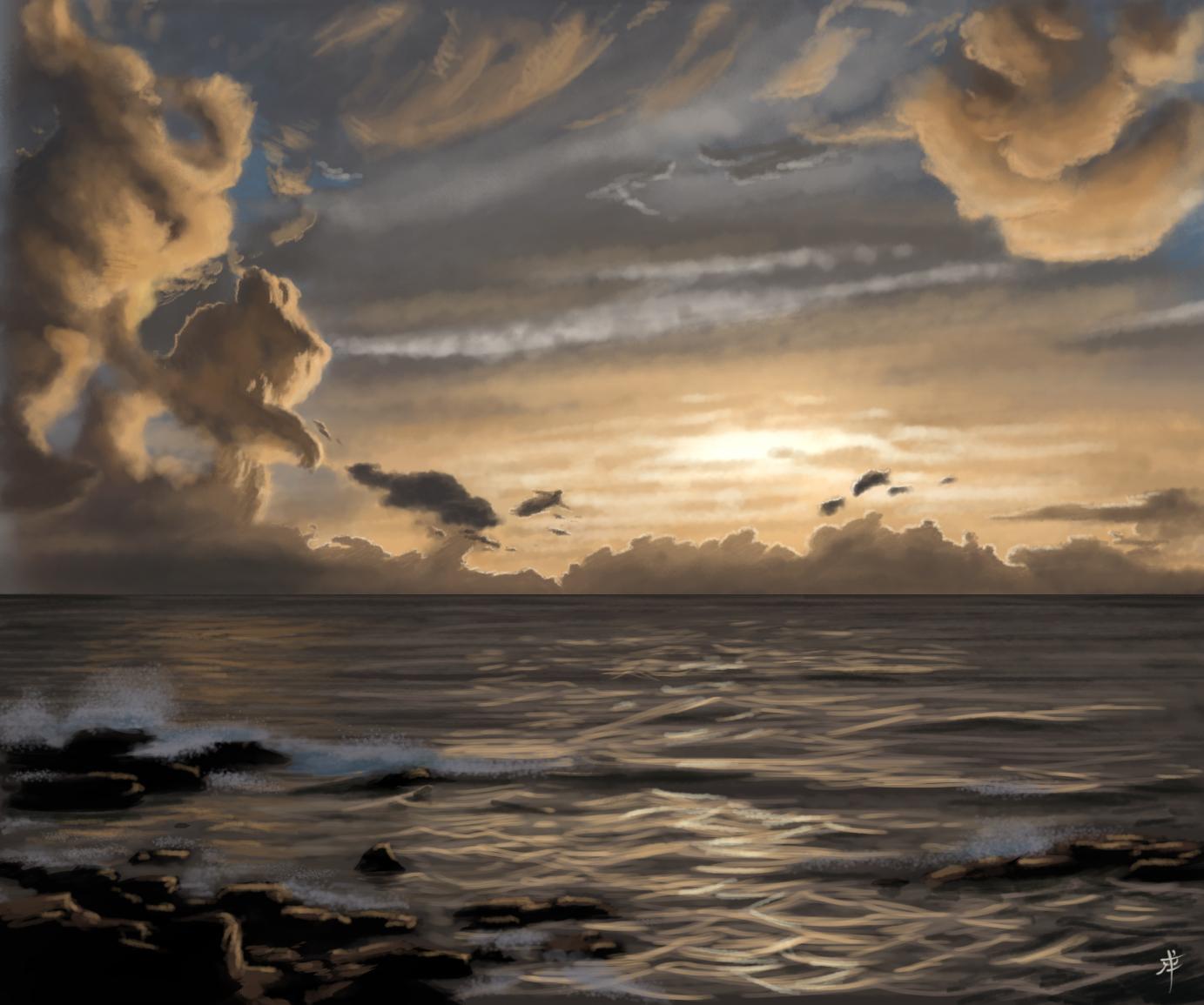 Golden Ocean Sunset by rpowell77 on DeviantArt