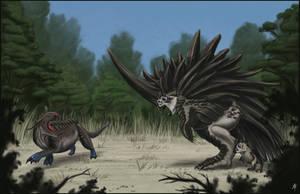 Megacerasornis vs. Blue-footed Tetradon by rob-powell