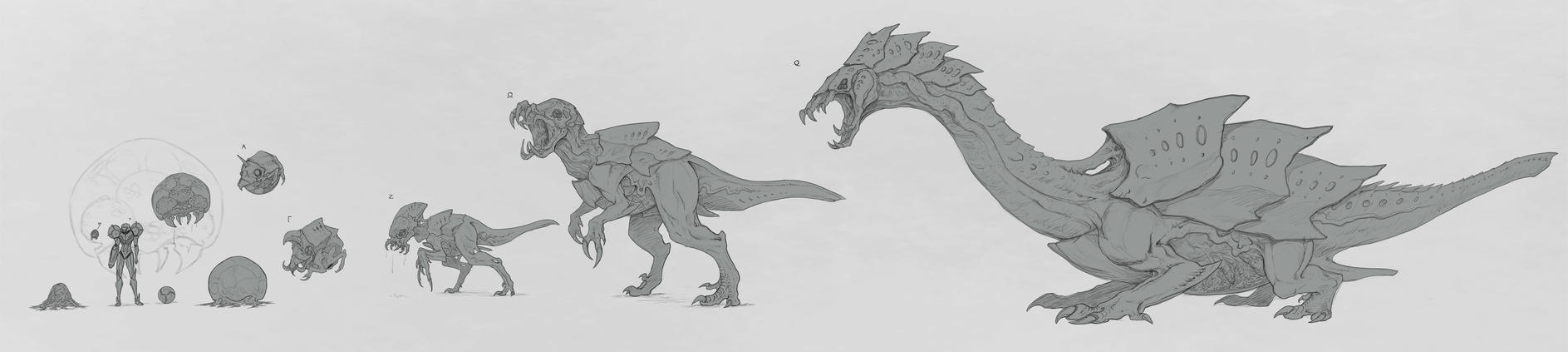 Metroid Life Cycle WIP by rob-powell