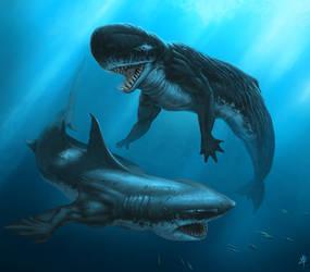 Livyatan Mermaid vs. Megalodon Mermaid by rob-powell