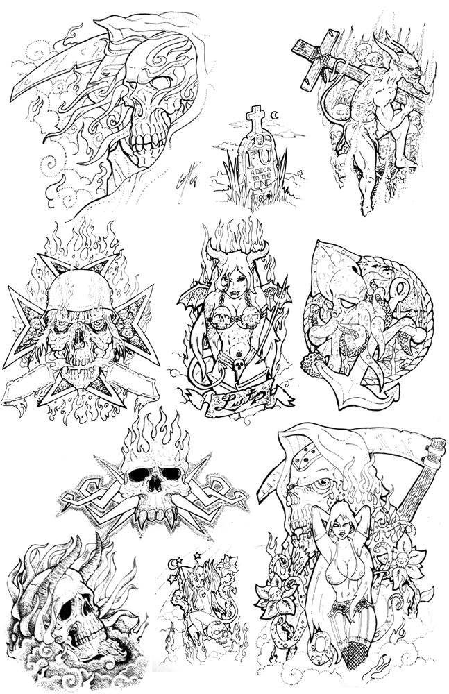 Tattoo Flash Line Drawing Converter : Tattoo flash art by themacrat on deviantart