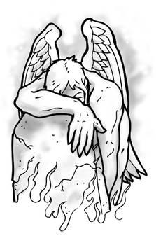 Angel Weeping Tattoo Flash