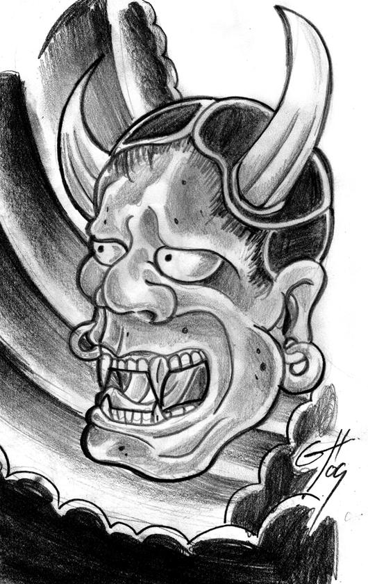 japanese devil mask sketch by themacrat on deviantart. Black Bedroom Furniture Sets. Home Design Ideas