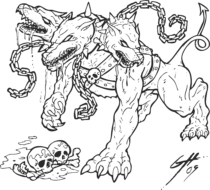 Three Headed Dog Coloring Pages Sketch Templates likewise Y2VyYmVydXMgZHJhd2luZ3M also Hermes Helmet Coloring Page besides How To Draw A Centaur For Kids Step 2 additionally Hellhound Logo Sketch Rev3 126957794. on scary cerberus dog