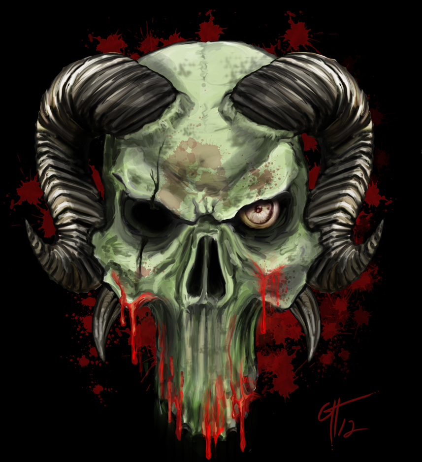 Demon Skull With Horns Tattoo | www.imgkid.com - The Image ...