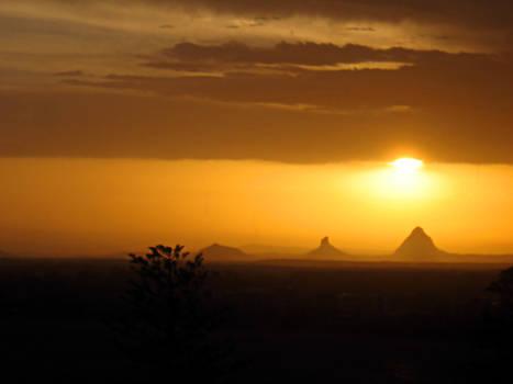 Sunset on Glasshouse Mountains