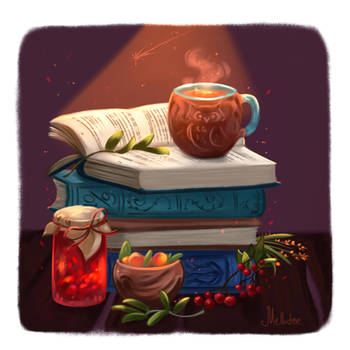 Still Life with books by Mellodee