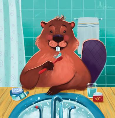 Beaver brushing his teeth