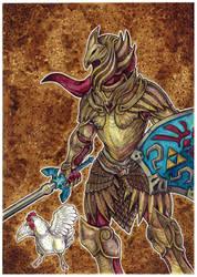 Art Trade: Link in Skyrim Elven Armor