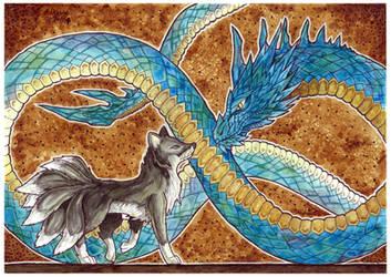 Art Trade: Crystal Serpent and Black Fox
