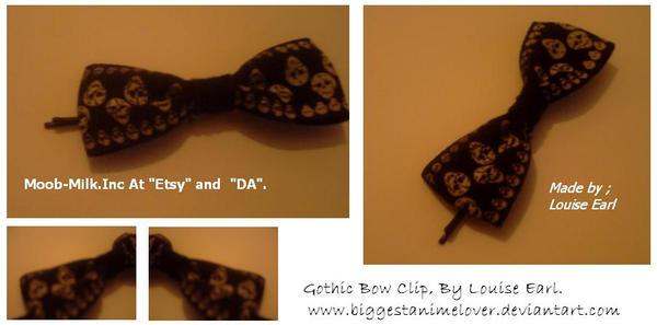 Gothic Bow Hair Clip. by Moob-Milk-Inc