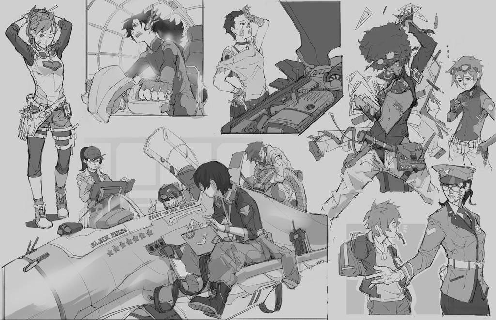 Random Sketches #5-Hangar Staff by tantaku