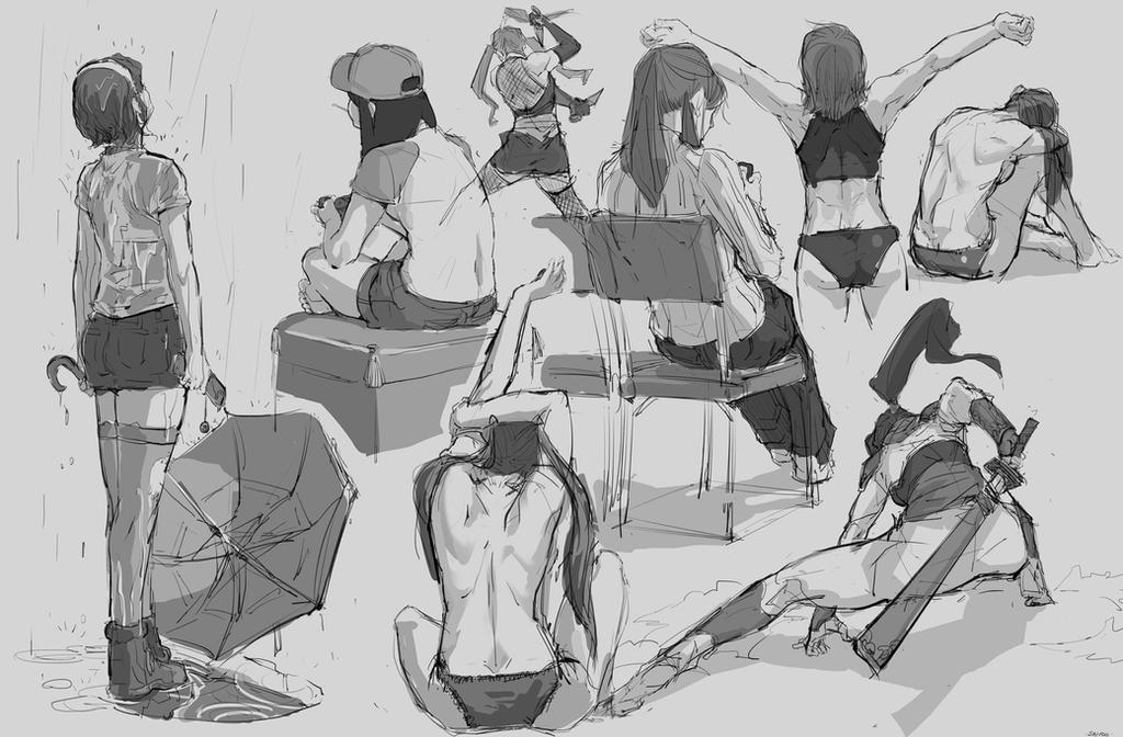 Random Sketches #8 - Female's Rear by tantaku