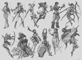 Random Sketch Female Fantasy Class by tantaku