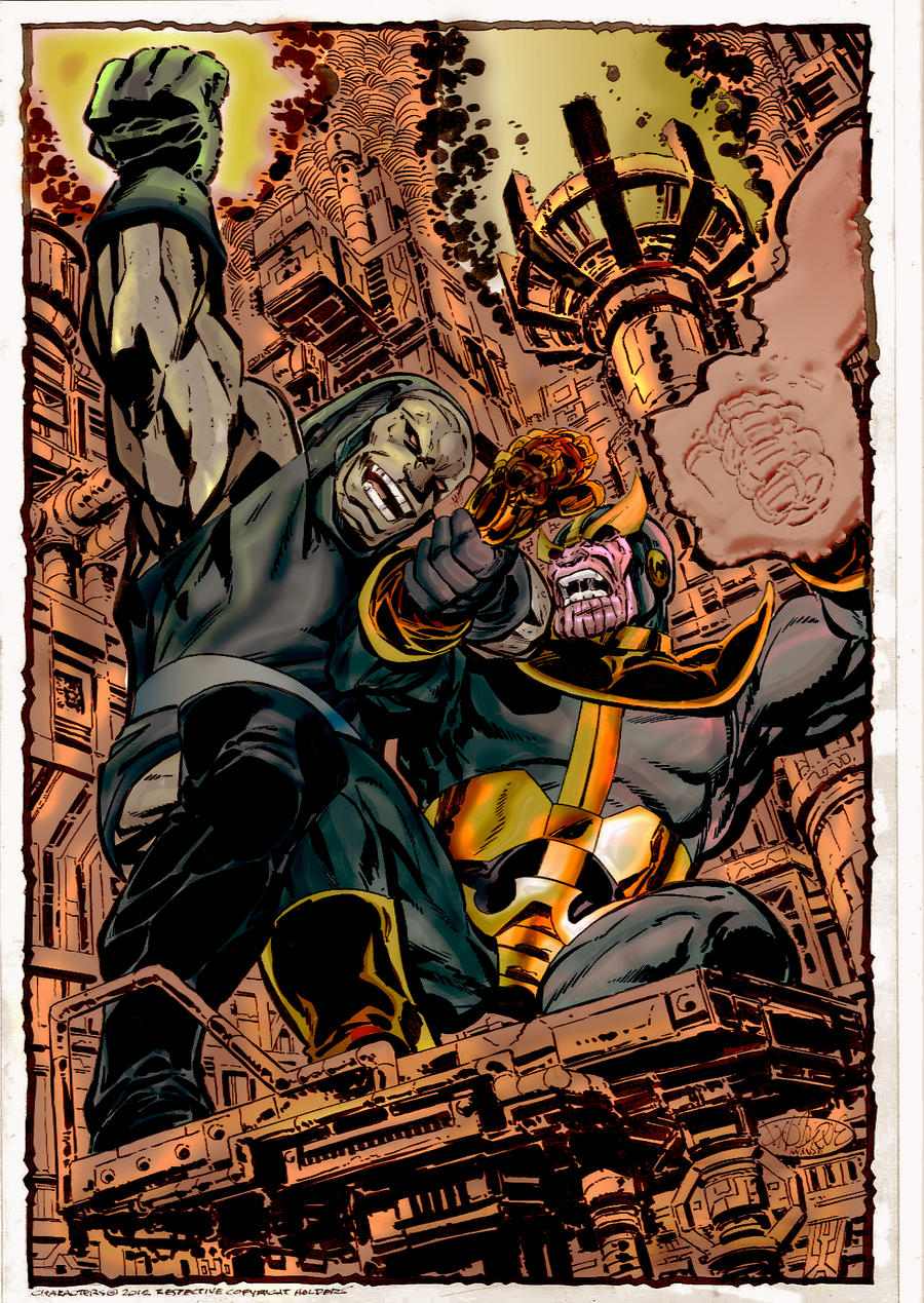 darkseid vs thanos by byrne by namorsubmariner