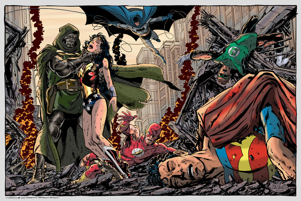 doom  vs justice league by john byrne by namorsubmariner