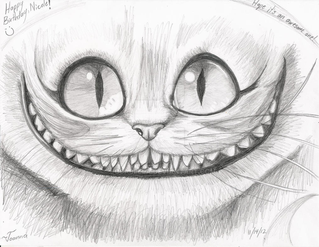 Рисунки карандашом чеширского кота