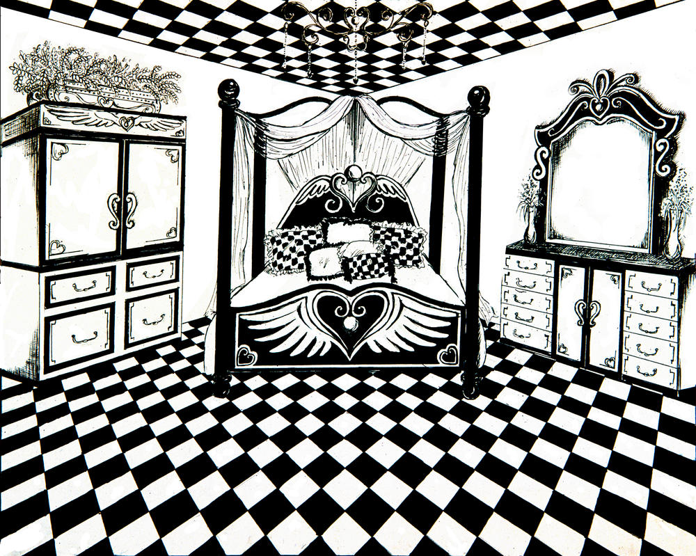 checkered bedroom by awassabee