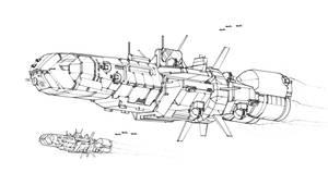 Battletech art - Black Lion Class Battlecruiser by sharlin