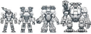 Battletech - Hell's Horses Battle armour lineup.