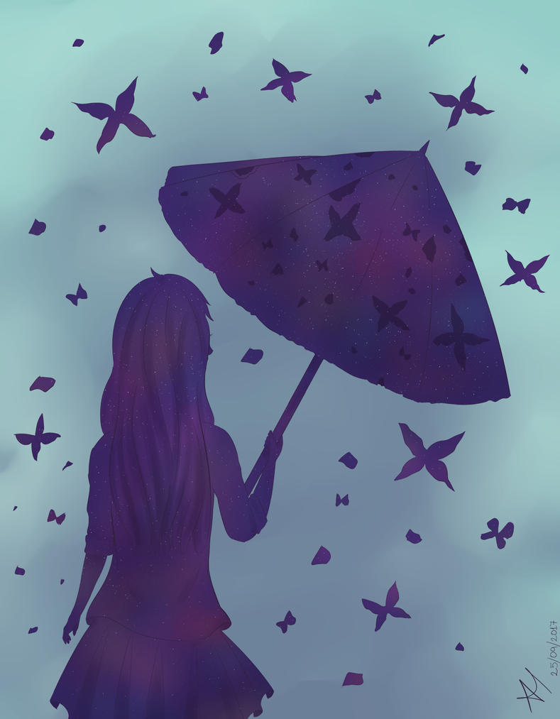 Girl And Umbrella by AriClaus