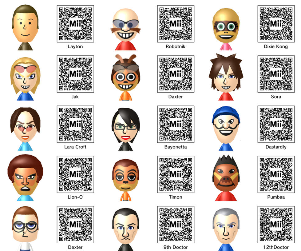 Mii QR Codes by FieryBirdyThing by FieryBirdyThing on