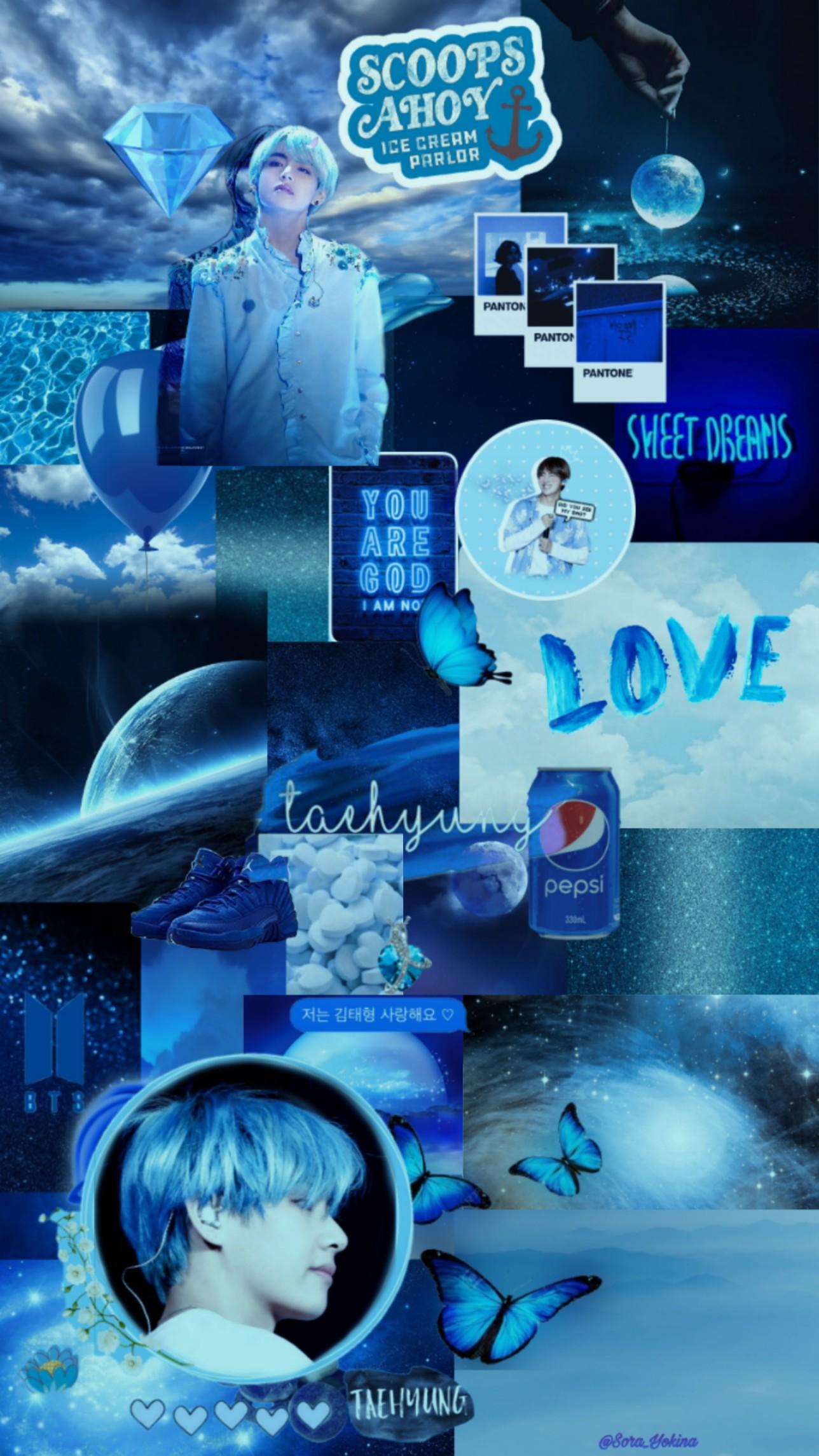 Bts Kim Taehyung Aesthetic Blue Wallpaper By Kotorimarie On