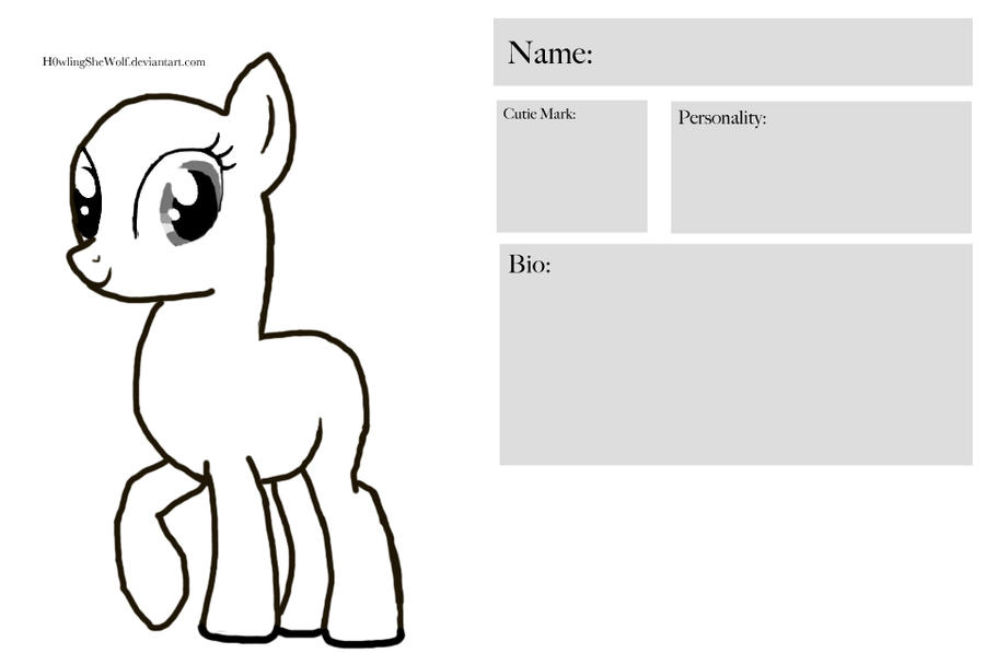 free to use my little pony character sheet by h0wlingshewolf on