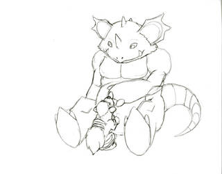 Nidoking Growlithe WIP by LoreMaster01