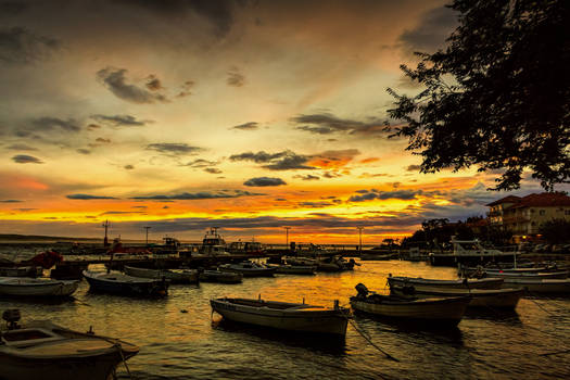 Sunset Port Starigrad Croatia