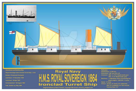 HMS Royal Sovereign, 1864 Print