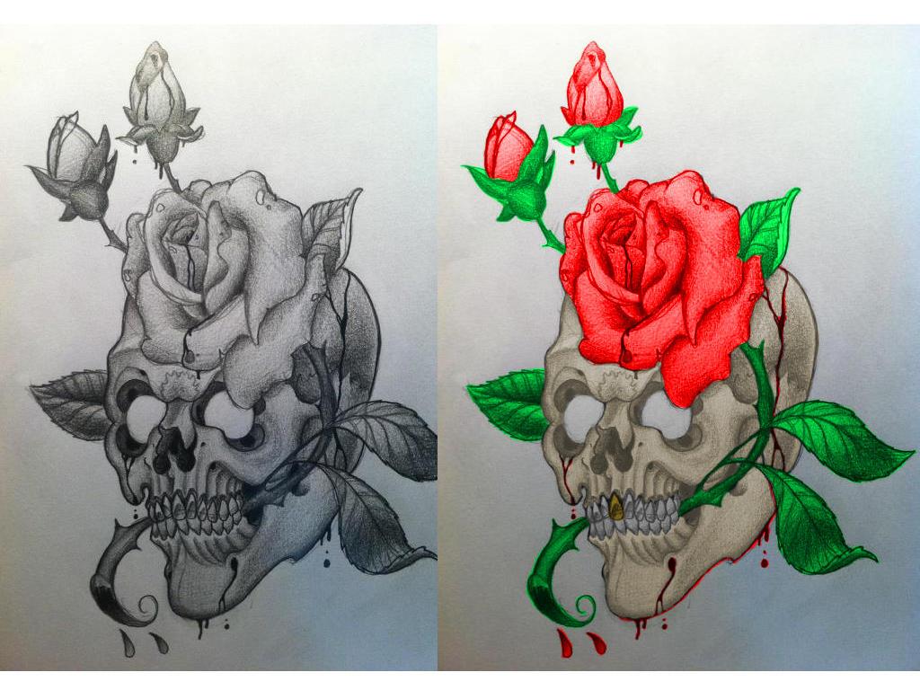 Desenho Para Tattoo Caveira Com Rosas By Morticia Adams On Deviantart