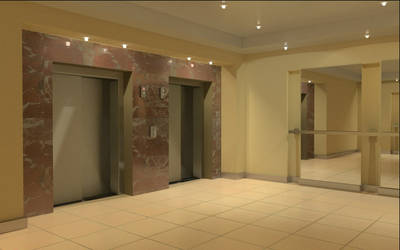 Hall with elevators and mirrors