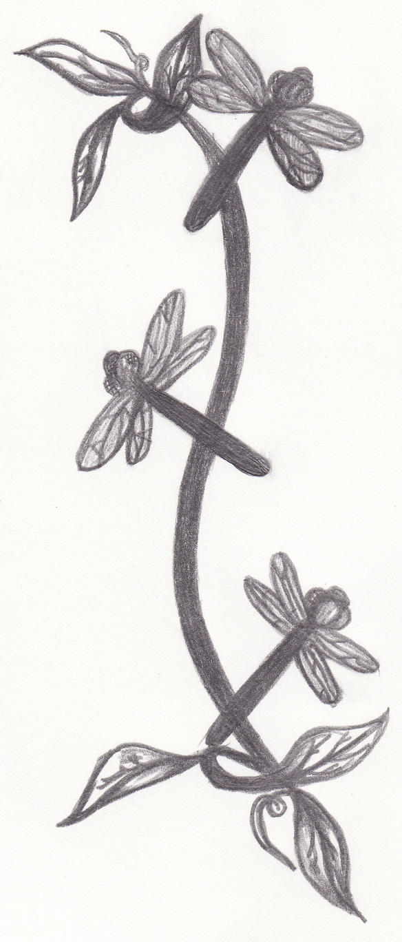 Dragonfly Birdbath design - dragonfly tattoo