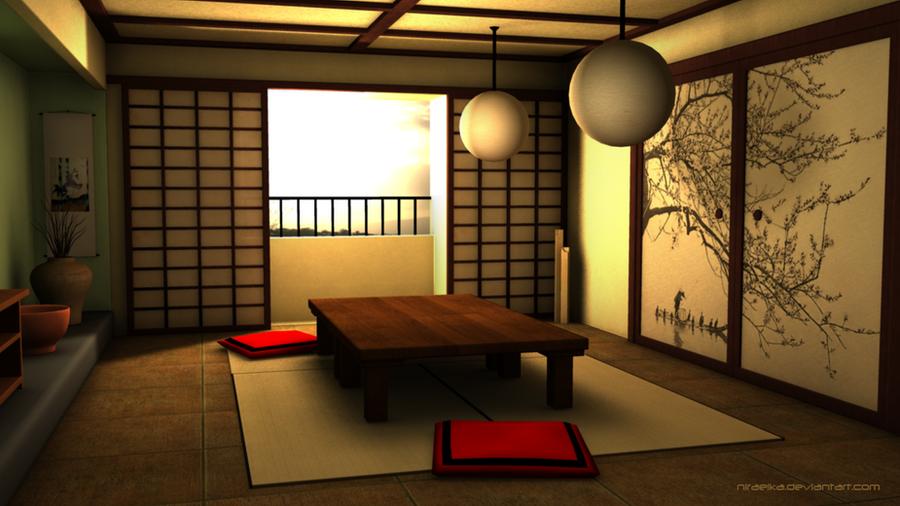 3d traditional japanese room by niraeika on deviantart for Zen style living room design