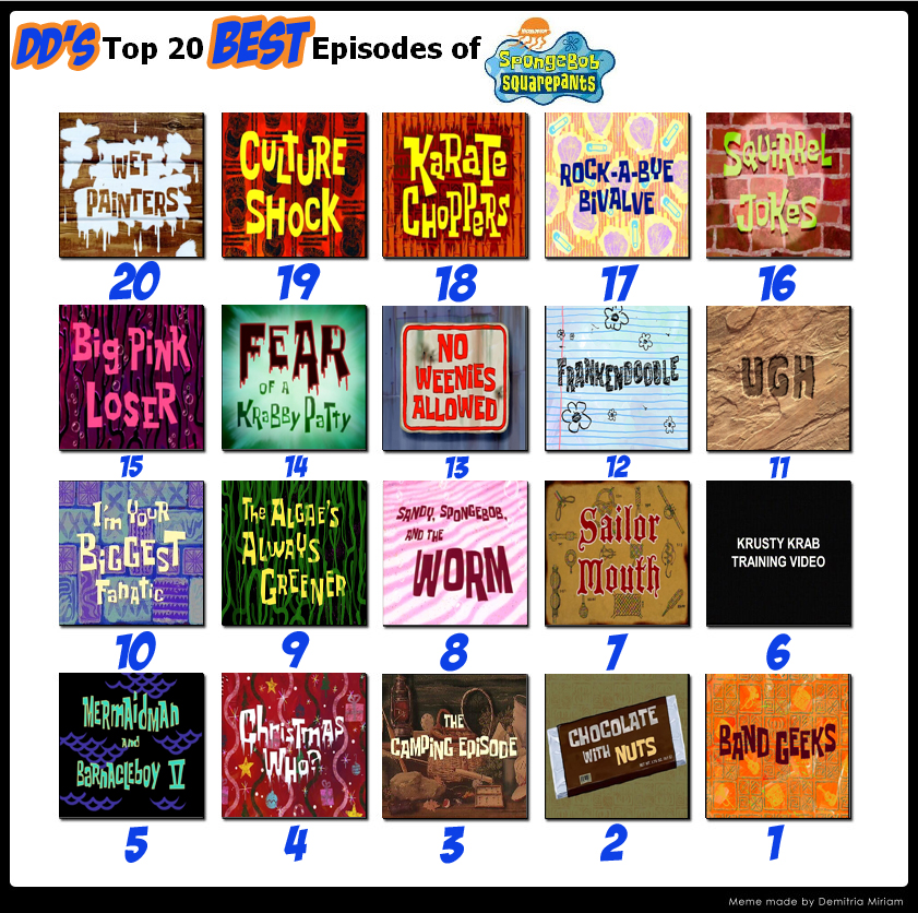DD's Top 20 BEST Episodes Of Spongebob Squarepants By