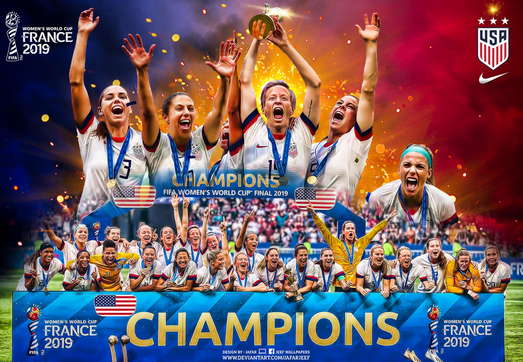 usa champions fifa womens world cup france 2019 by jafarjeef